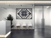 Graphic fine art print in reception area