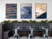 Mock up posters in modern restaurant interior, 3d render